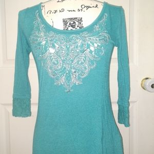 Miss Me Lightweight Teal 3/4 Sleeve Shirt